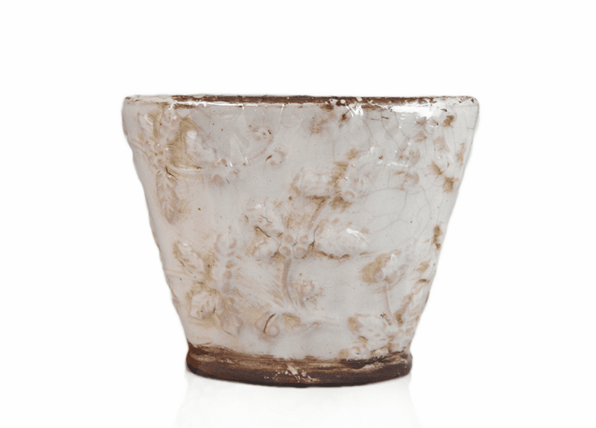 _DISCONTINUED - *Sugar Plum Frost Holiday Flared Vase (Color: White)