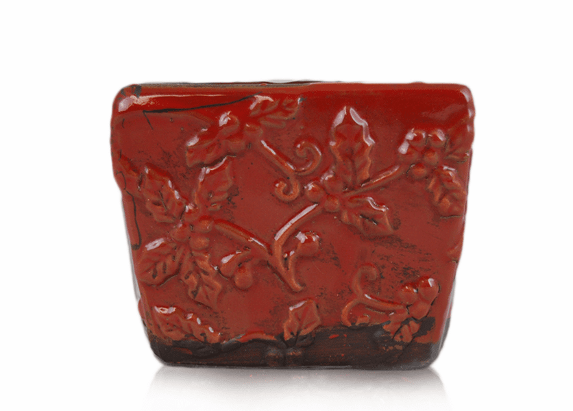 _DISCONTINUED - *Sugar Plum Frost Square Holly Pattern Pot (Color: Red)