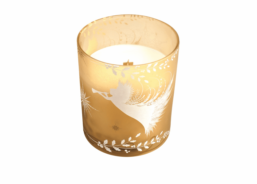 _DISCONTINUED - *Sugar & Sprinkles Holiday Gold Decal Glass WoodWick Candle