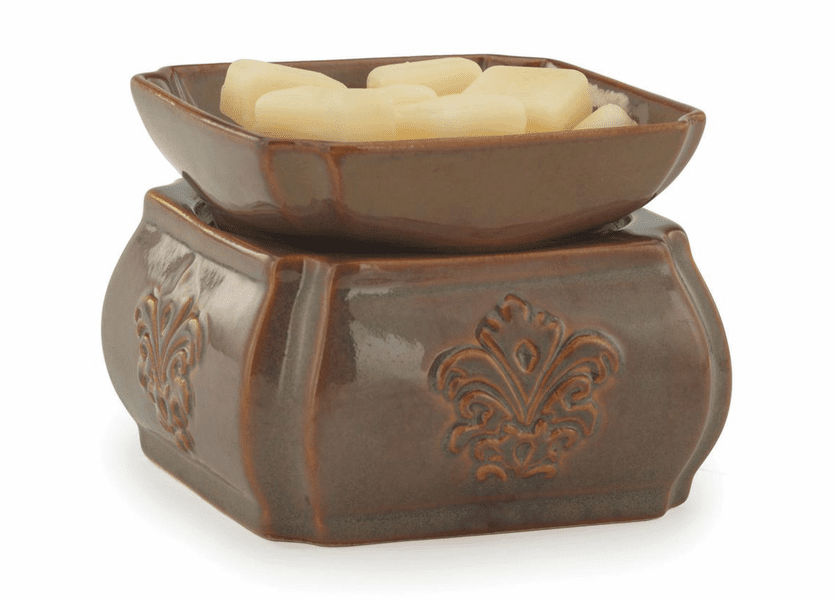 _DISCONTINUED_Toffee Damask Ceramic Fragrance Warmer with Dish