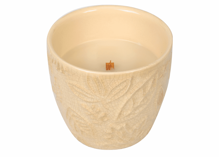 _DISCONTINUED - *Vanilla Bean Leaf Collection Ceramic Tumbler WoodWick Candle