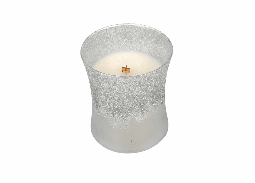 _DISCONTINUED - *Warm Wool Iced Silver HourglassWoodWick Candle 10 oz.