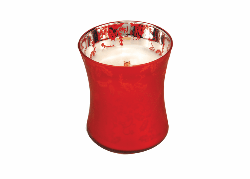 _DISCONTINUED - *Welcome Christmas Medium WoodWick Dancing Glass Candle