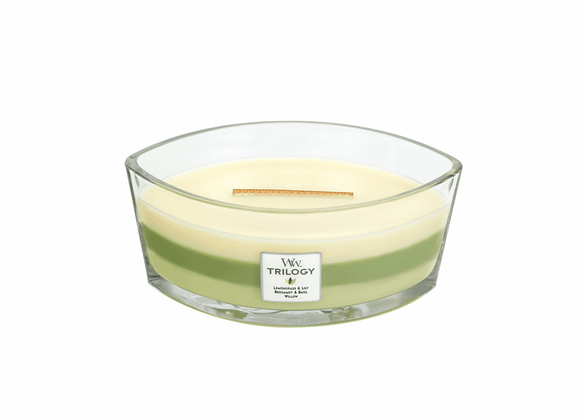 Garden Oasis WoodWick Trilogy Candle 16 oz. HearthWick Flame