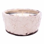 _DISCONTINUED_Gingerbread Holiday Pottery Bowl (Color: Ivory) | Swan Creek Candles Closeouts