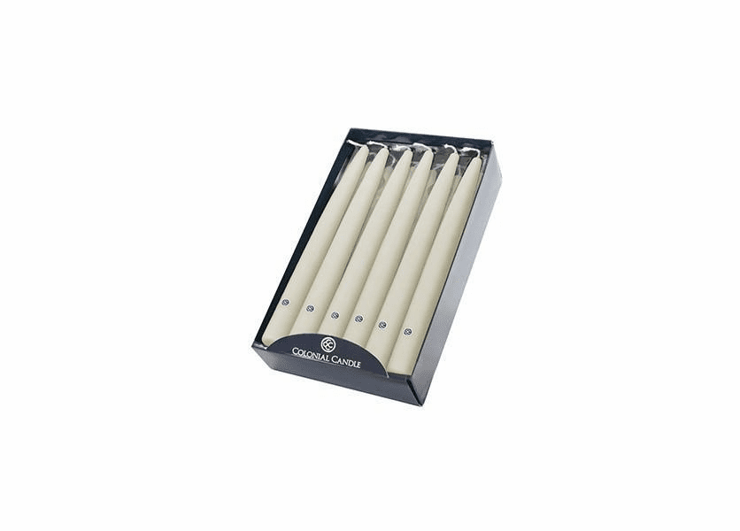 """Ivory 10"""" Unscented Handipt Taper 12-Pack Colonial Candle"""