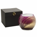"NEW! - 4"" Amethyst Esque Globe Candle with Glass Insert 