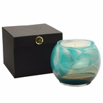 "NEW! - 4"" Turquoise Esque Globe Candle with Glass Insert 