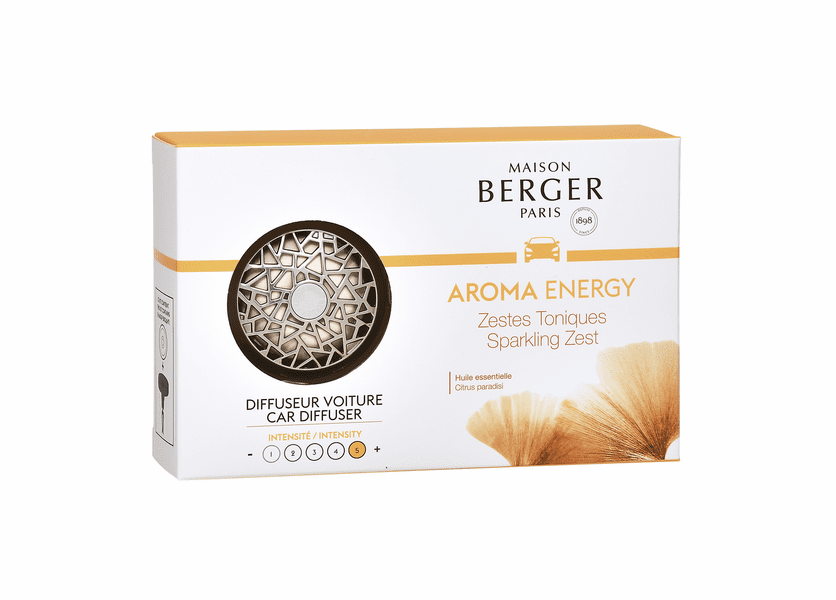 NEW! - Aroma Energy - Nickel Matte Finish Car Diffuser Kit - Maison Berger by Lampe Berger