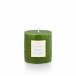 NEW! - Balsam & Cedar 3x3 Small Etched Pillar Illume Candle | Holiday Collection by Illume Candles