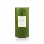 NEW! - Balsam & Cedar 3x6 Medium Etched Pillar Illume Candle | Holiday Collection by Illume Candles
