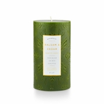 NEW! - Balsam & Cedar 4x7 Large Etched Pillar Illume Candle | Holiday Collection by Illume Candles