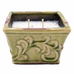 CLOSEOUT-Citrus & Sage English Garden Small Square Swan Creek Candle (Color: Lime) | Swan Creek Candles Closeouts
