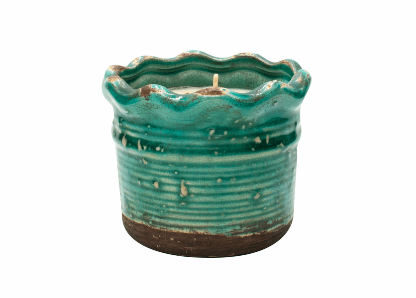 NEW! - Cranberry Apple Crisp Ruffled Pot Swan Creek Candle (Color: Turquoise)
