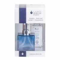 NEW! - Cube Blue Lamp Gift Set with 180 ml (6.08 oz.) Ocean Breeze Fragrance Oil - Lampe Berger by Maison Berger