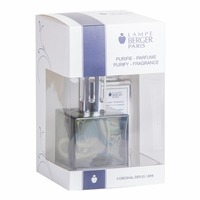 NEW! - Cube Turquoise Lamp Gift Set with 180 ml (6.08 oz.) Ocean Breeze Fragrance Oil - Lampe Berger by Maison Berger