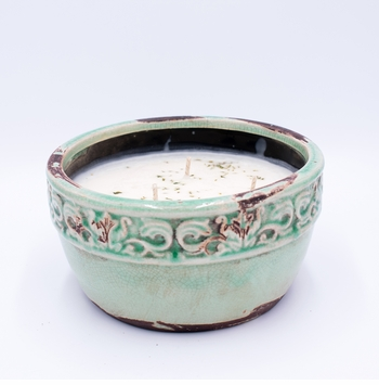 _DISCONTINUED_Fresh-Cut Christams Tree Vintage Pottery Round Bowl Swan Creek Candle