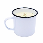 CLOSEOUT-Golden Mimosa Potting Shed Enamelware Medium Mug  Swan Creek Candle (Color: White) | Swan Creek Candles Closeouts