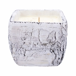 CLOSEOUT-Golden Mimosa White Woods Pottery Birch Small Square Pot Swan Creek Candle | Swan Creek Candles Closeouts