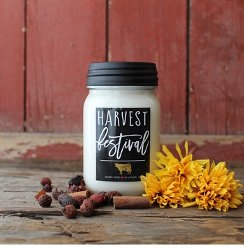 Harvest Festival 13 oz. Mason Jar Candle by Milkhouse Candle Creamery