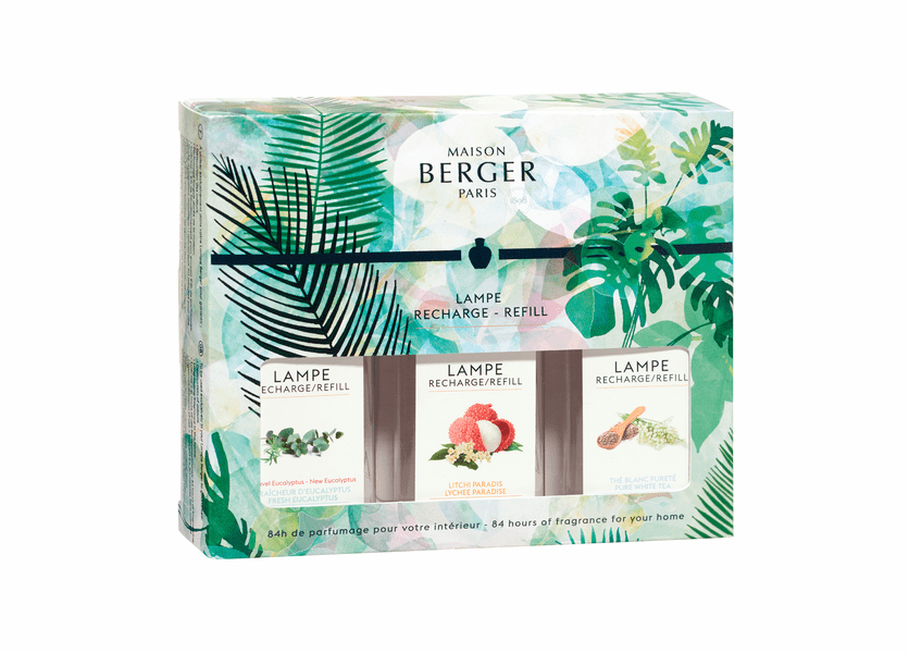 NEW! - Immersion Trio Pack: Fresh Eucalyptus, Pure White Tea & Lychee Paradise 3 180 ml (6.08 oz.) Fragrance Lamp Oils - Lampe Berger by Maison Berger