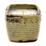 CLOSEOUT-Mango & Peach Slices Vintage Square Pot Swan Creek Candle (Color: Green) | Swan Creek Vintage Pottery Collection