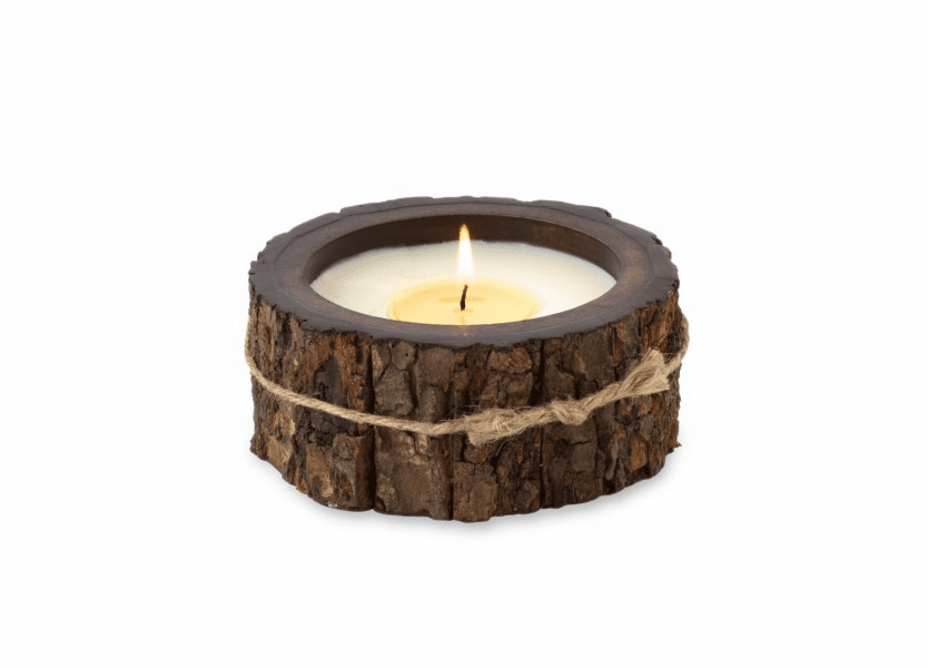 NEW! - Mountain Forest 9 oz. Round Tree Bark Pot Candleby Himalayan Candles