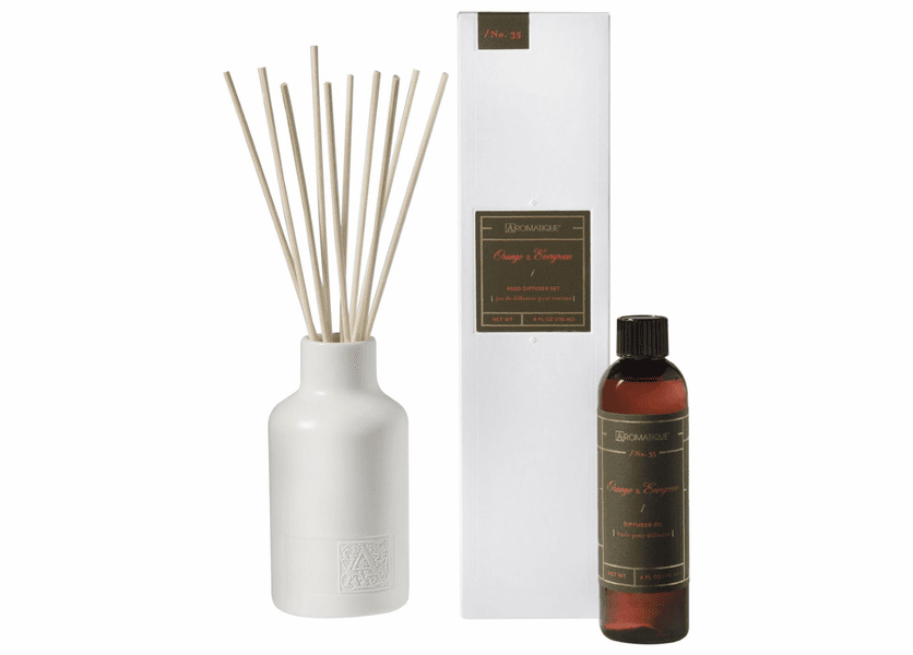 Orange & Evergreen 4 oz. Reed Diffuser Set by Aromatique