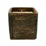 NEW! - Pumpkin Caramel Drizzle Weathered Wood Pottery Small Square Pot Swan Creek Candle | Weathered Woods Pottery Collection by Swan Creek Candle