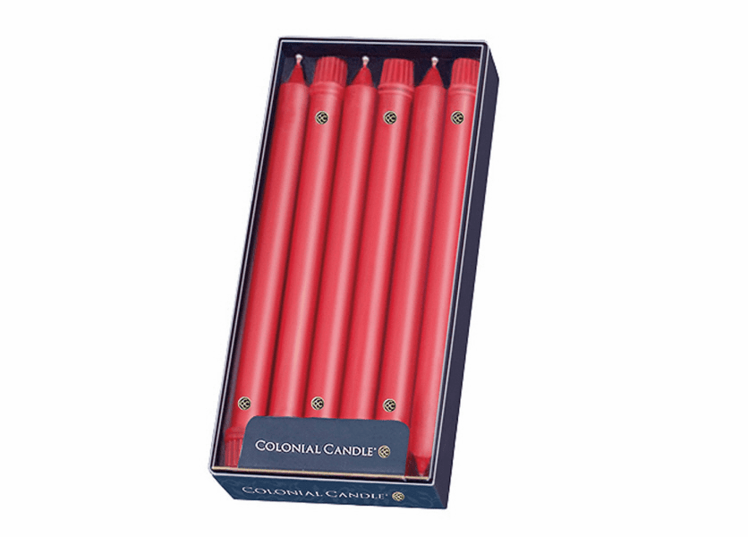 """NEW! - Red 10"""" Unscented Classic Taper 12-Pack Colonial Candle"""