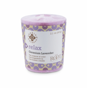 NEW! - Relax (Geranium Lavender) Seeking Balance 20-Hour Votive by Root