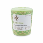 Relieve (Eucalyptus Menthol) Seeking Balance 20 Hour Votive by Root | Seeking Balance 20 Hour Votive Candles by Root