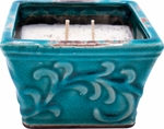 CLOSEOUT-Roasted Espresso English Garden Small Square Swan Creek Candle (Color: Turquoise) | Swan Creek Candles Closeouts