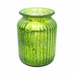 NEW! - Snowflakes at Midnight Green 24 oz. Gilded Glass Large Jar Swan Creek Candle | Gilded Glass Collection