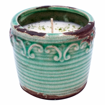 CLOSEOUT-Summer Melon Vintage Round Pot Swan Creek Candle (Color: Teal)
