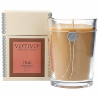 NEW! - Teak Large Glass Candle Votivo Candle