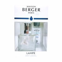 NEW! - Value Pack: Clear Cube Lamp with 180 ml (6.08 oz.) Ocean Breeze Fragrance Oil - Lampe Berger by Maison Berger