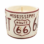 "NEW! - Vanilla Pound Cake American Highway ""Mississippi"" Round License Plate Pot Swan Creek Candle 