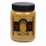 NEW! - Welcome Artwork Pineapple Upside Down Cake 26 oz. Crossroads Candle | Crossroads 26 oz. Artwork Label Candles