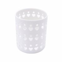 NEW! - White Heart Ceramic Petite Holder WoodWick Candle