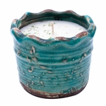 CLOSEOUT-Wildflower Trail Ruffled Pot Swan Creek Candle (Color: Turquoise) | Swan Creek Candles Closeouts