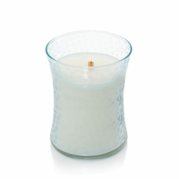 CLOSEOUT - Palo Santo First Frost Hammered Medium Hourglass WoodWick Candle