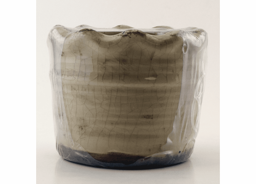 Pumpkin Vanilla Swan Creek Ruffled Edge Pot (Color: Brown)