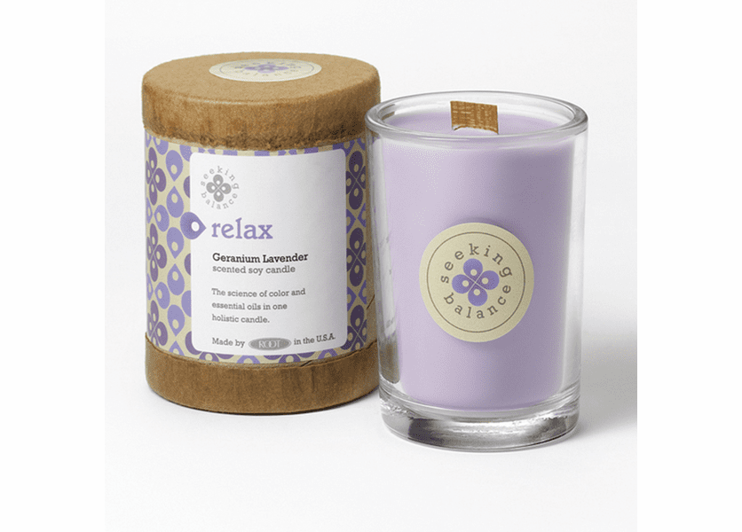 Relax (Geranium Lavender) Seeking Balance 6.5 oz. Candle by Root