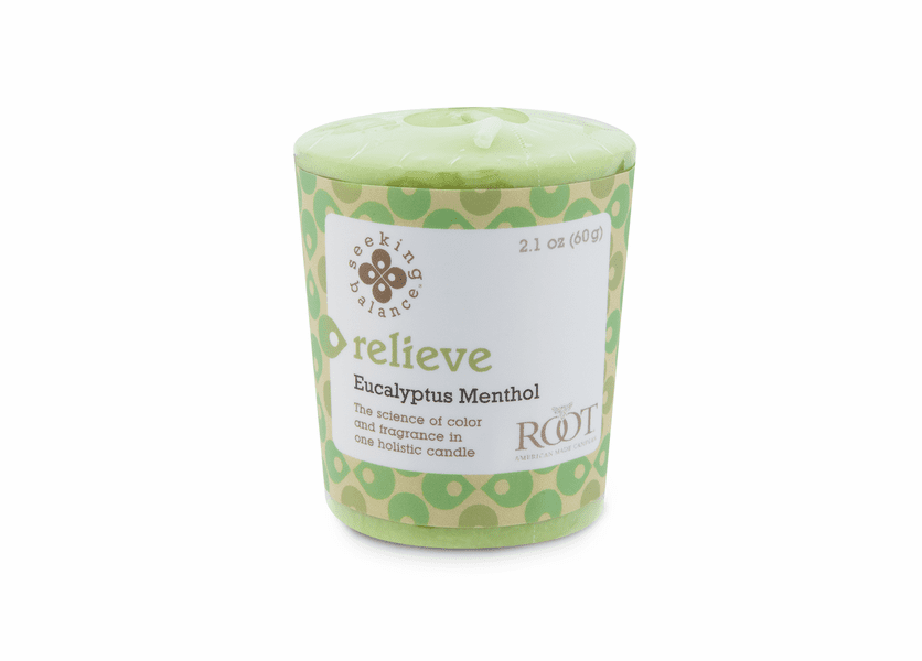 Relieve (Eucalyptus Menthol) Seeking Balance 20 Hour Votive by Root