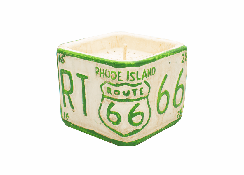 "Roasted Espresso American Highway ""Rhode Island""  Square License Plate Pot Swan Creek Candle"