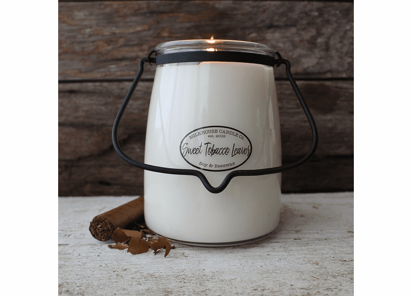 Sweet Tobacco Leaves 22 oz. Butter Jar Candle by Milkhouse Candle Creamery