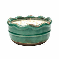 Vanilla Pound Cake Swan Creek Ruffled Edge Bowl (Color: Turquoise)