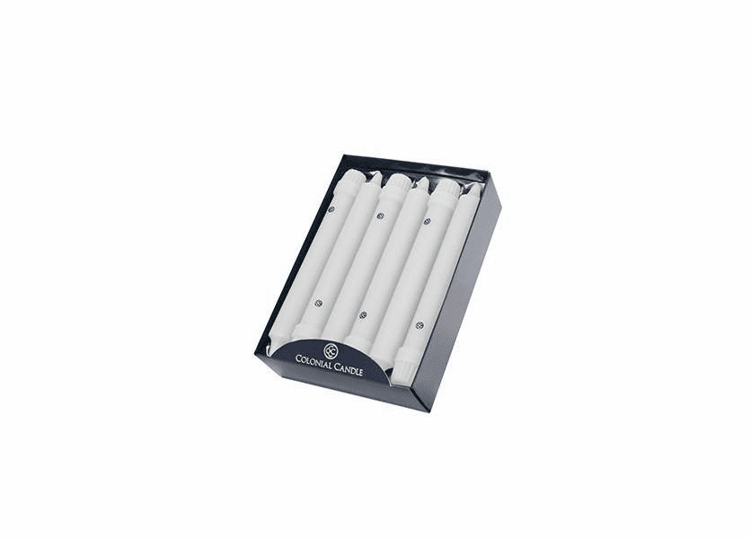 "White 8"" Unscented Classic Taper 12-Pack Colonial Candle"