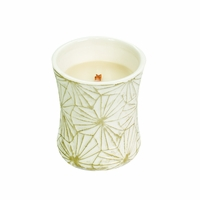 NEW! - White Teak Decal Hourglass WoodWick Candle